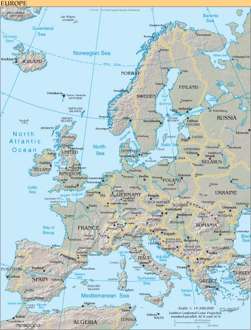 map of europe. The map of Europe above